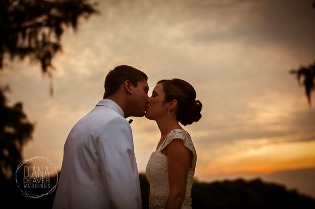 sunset bride and groom portrait