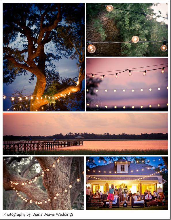 Lowndes Grove Charleston Wedding Rehearsal Dinner Photography Lights