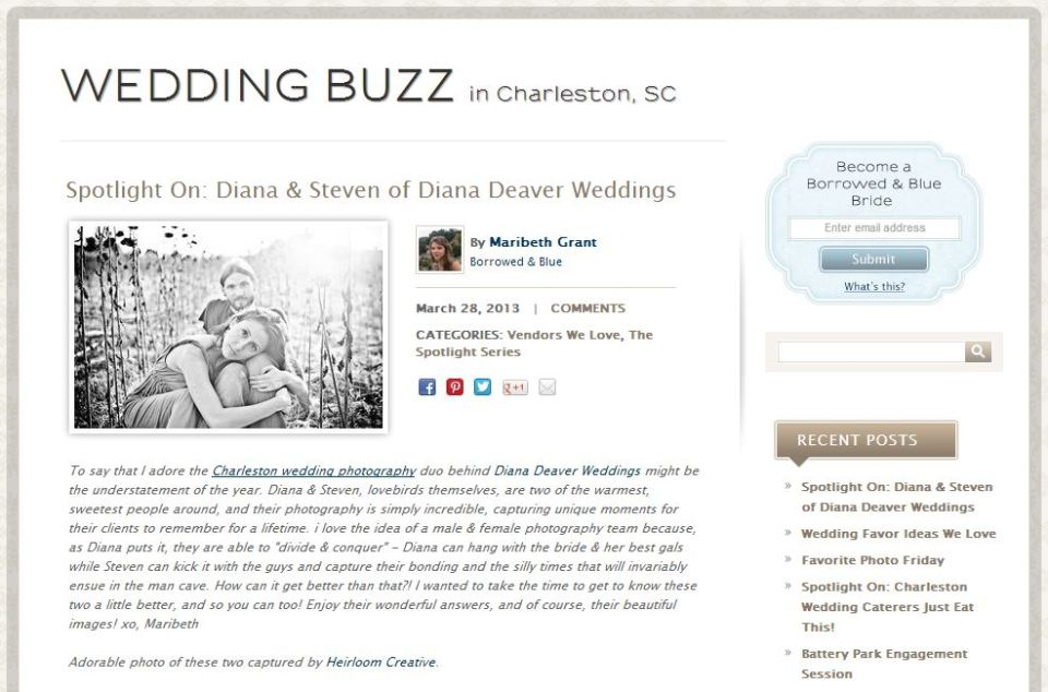 Diana Deaver Wedding Photography Online Feature