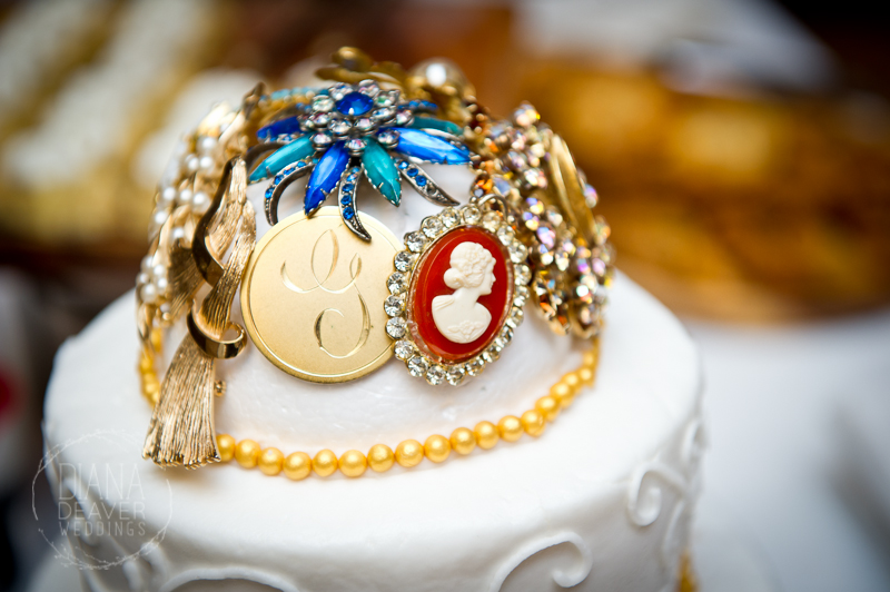 Brooch on Wedding Cake
