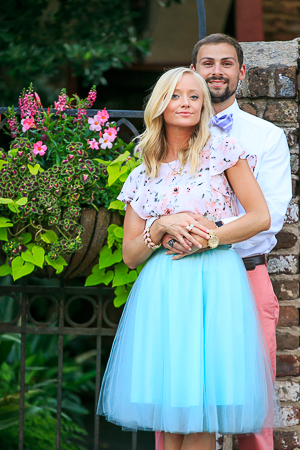Engagement Session DOWNTOWN Charleston SC cobble stone photographed by wedding photographer