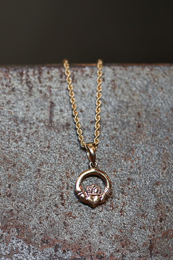 Claddagh ring earring turned necklace