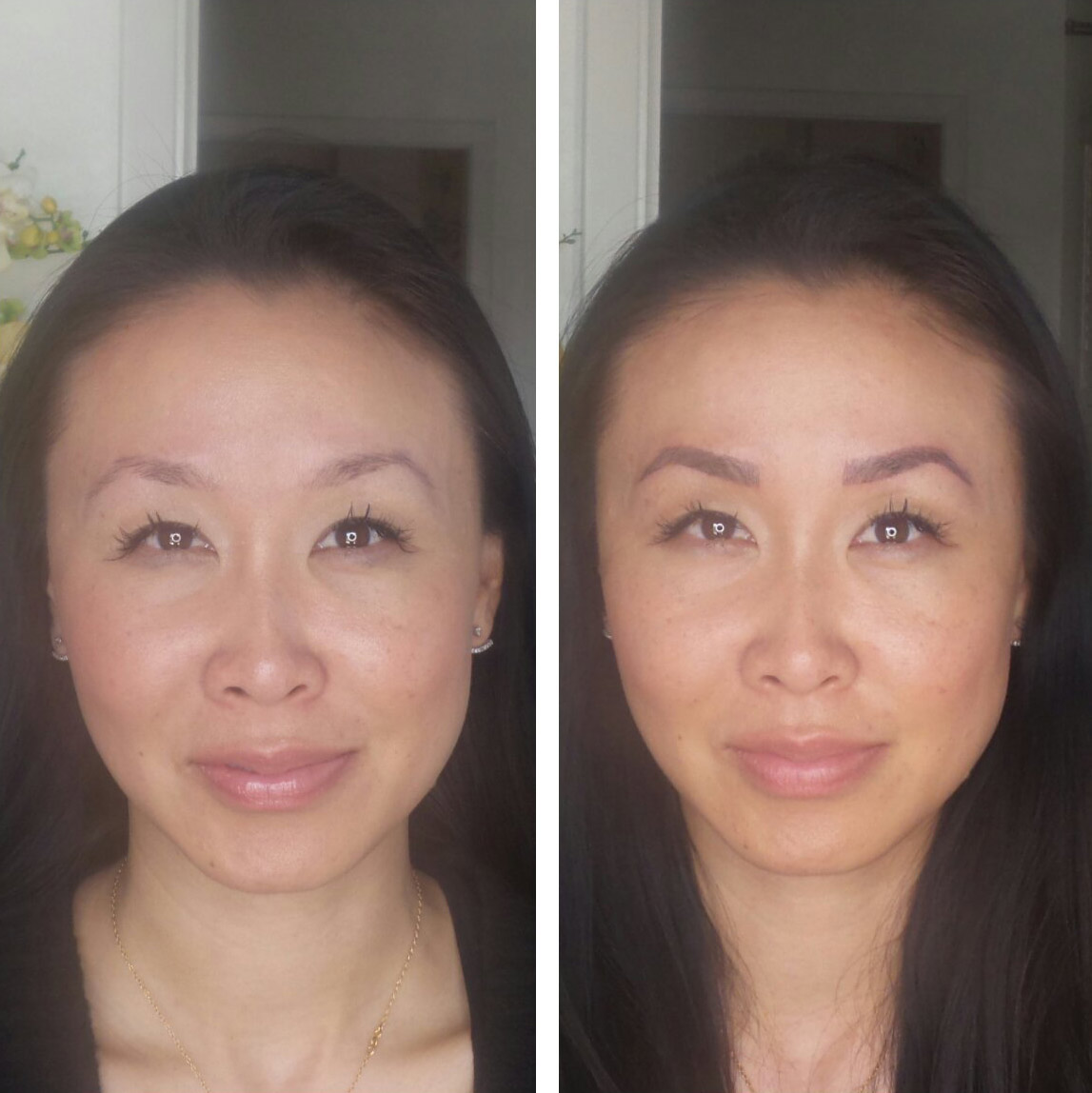 3D Embroidery / Microblading eyebrows - before and after, lasts for a year and a half, semi permanent.