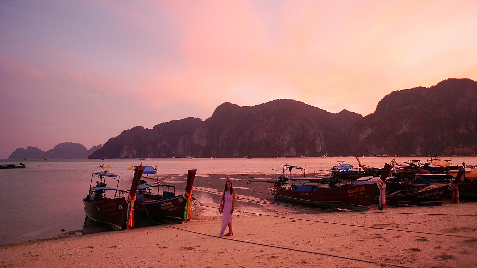 sunset image of Thailand phi phi islands orange sky