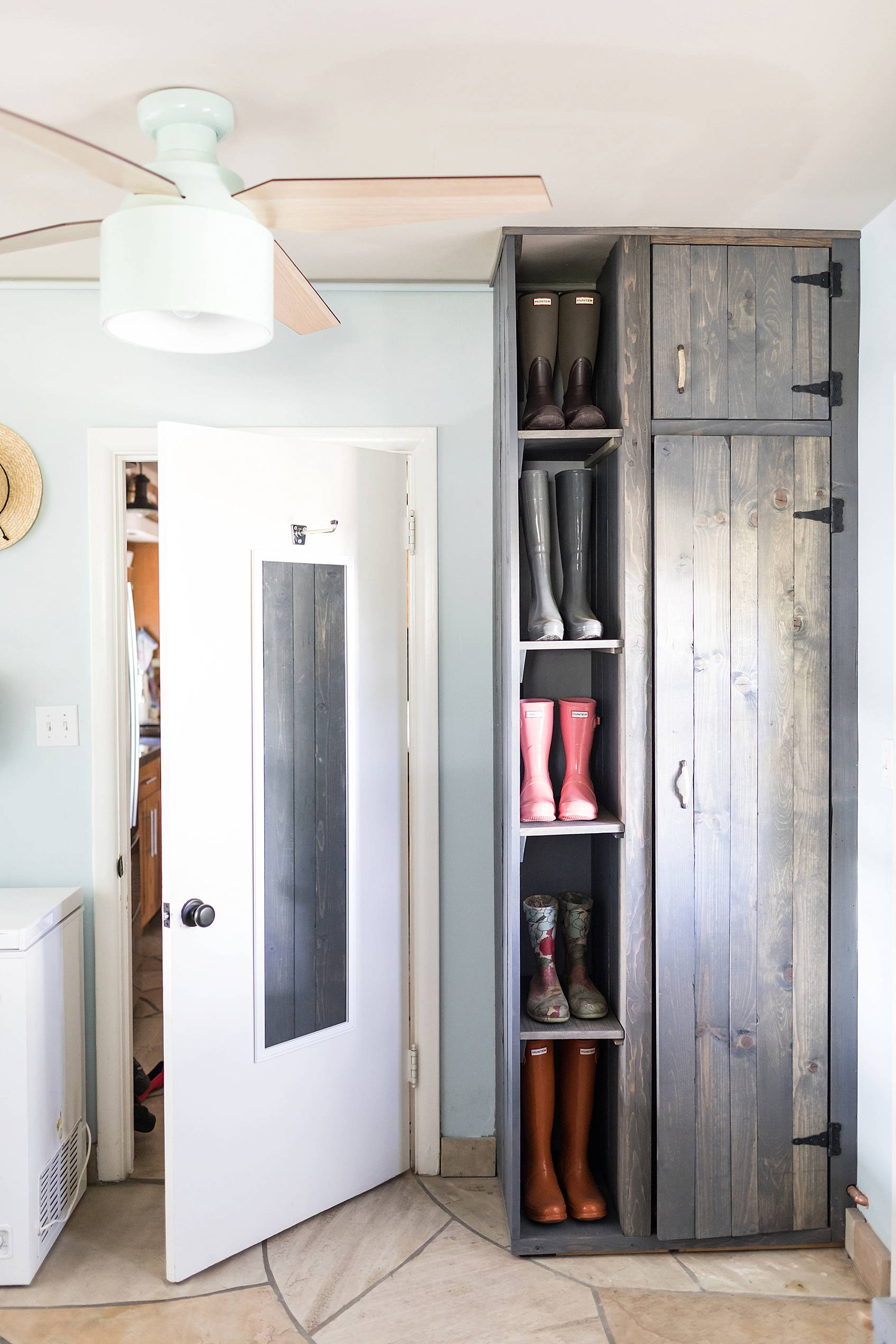 Laundry Mud Room With Custom Cabinets Rustic Look With Blue