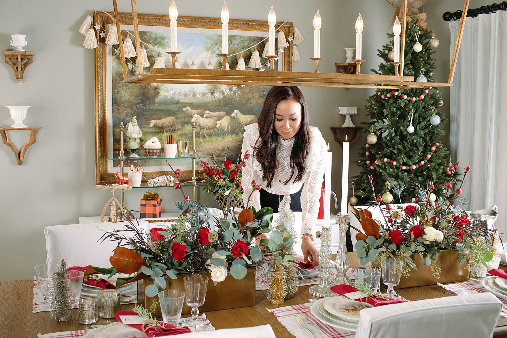 Christmas holiday tables cape inspiration red green and white Ballard Designs with blogger Diana Elizabeth