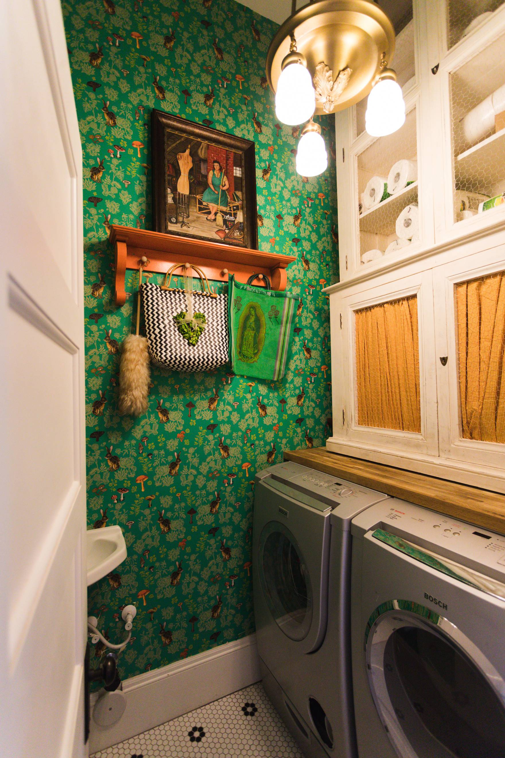Home Tour of Boho Farm and Home in Downtown Phoenix - cottage brick style home from 1903 hallway laundry room