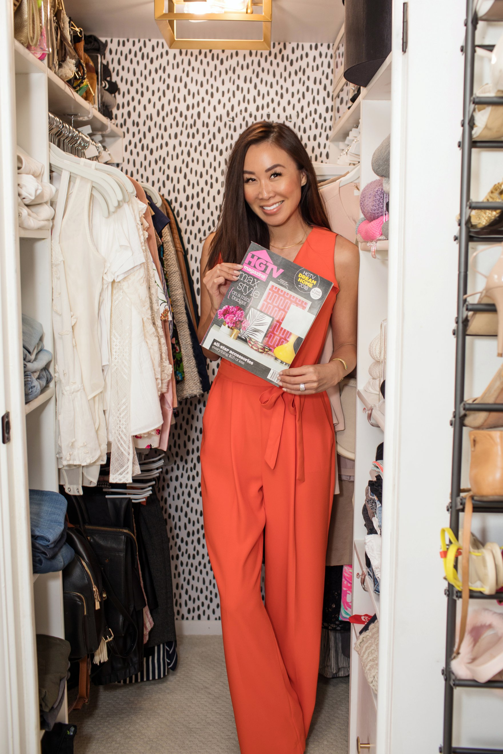 Diana Elizabeth blogger in tiny closet makeover featured in HGTV magazine // closet tour