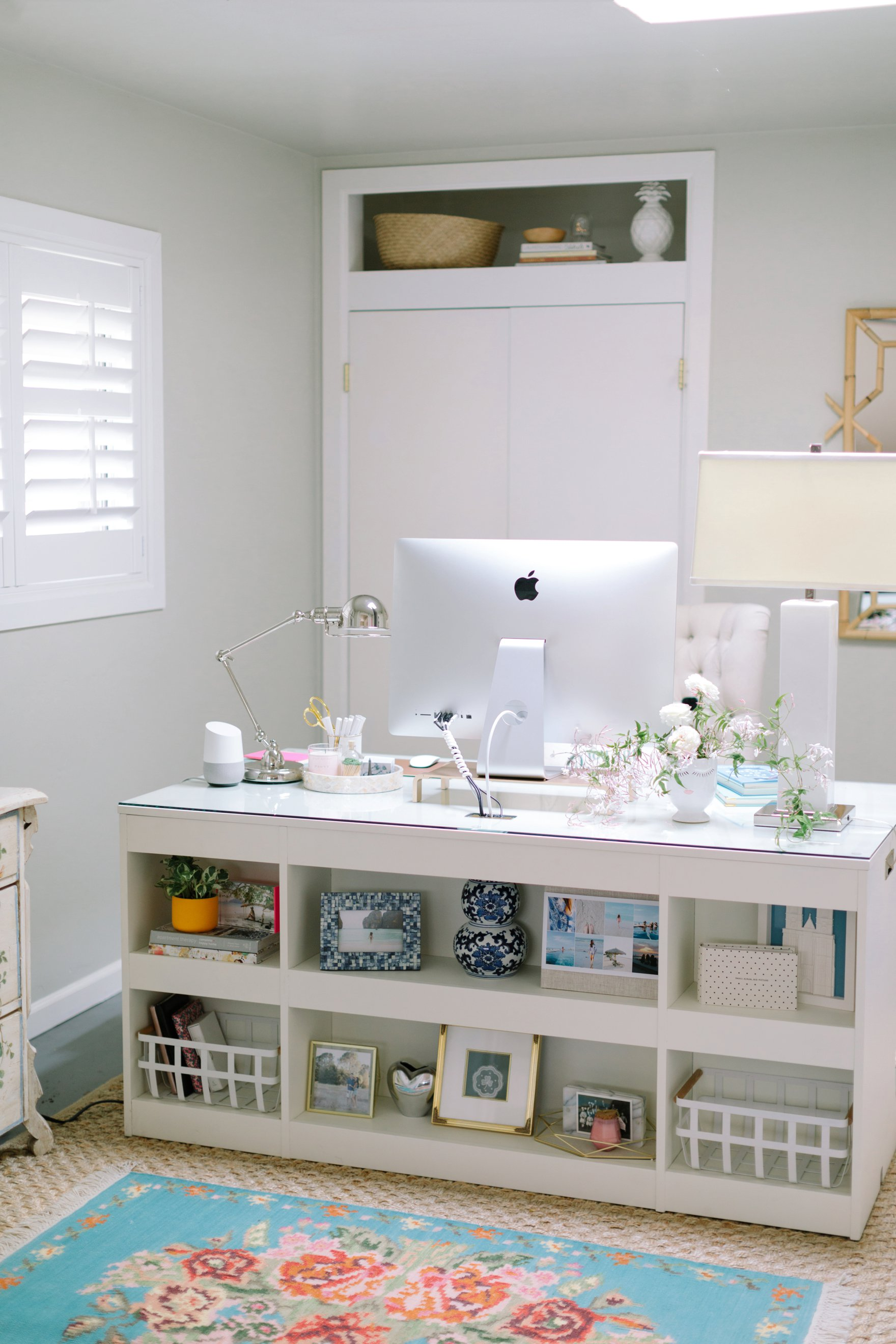 blogger photographer home office decor Diana Elizabeth's office featuring Coastal Living by Stanley Furniture Oasis Cape Dutch Writing Desk