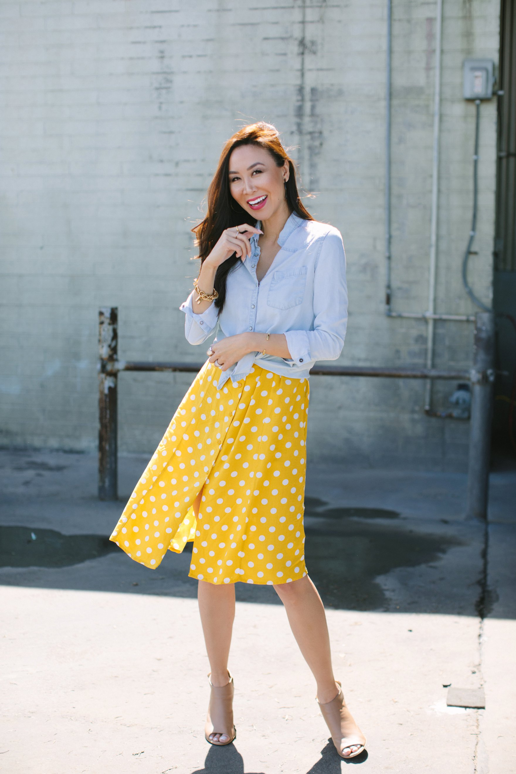 Yellow and white polka dot dress forever 21 paired with a chambray top featuring India hicks bracelet and other jewels lifestyle blogger Diana Elizabeth