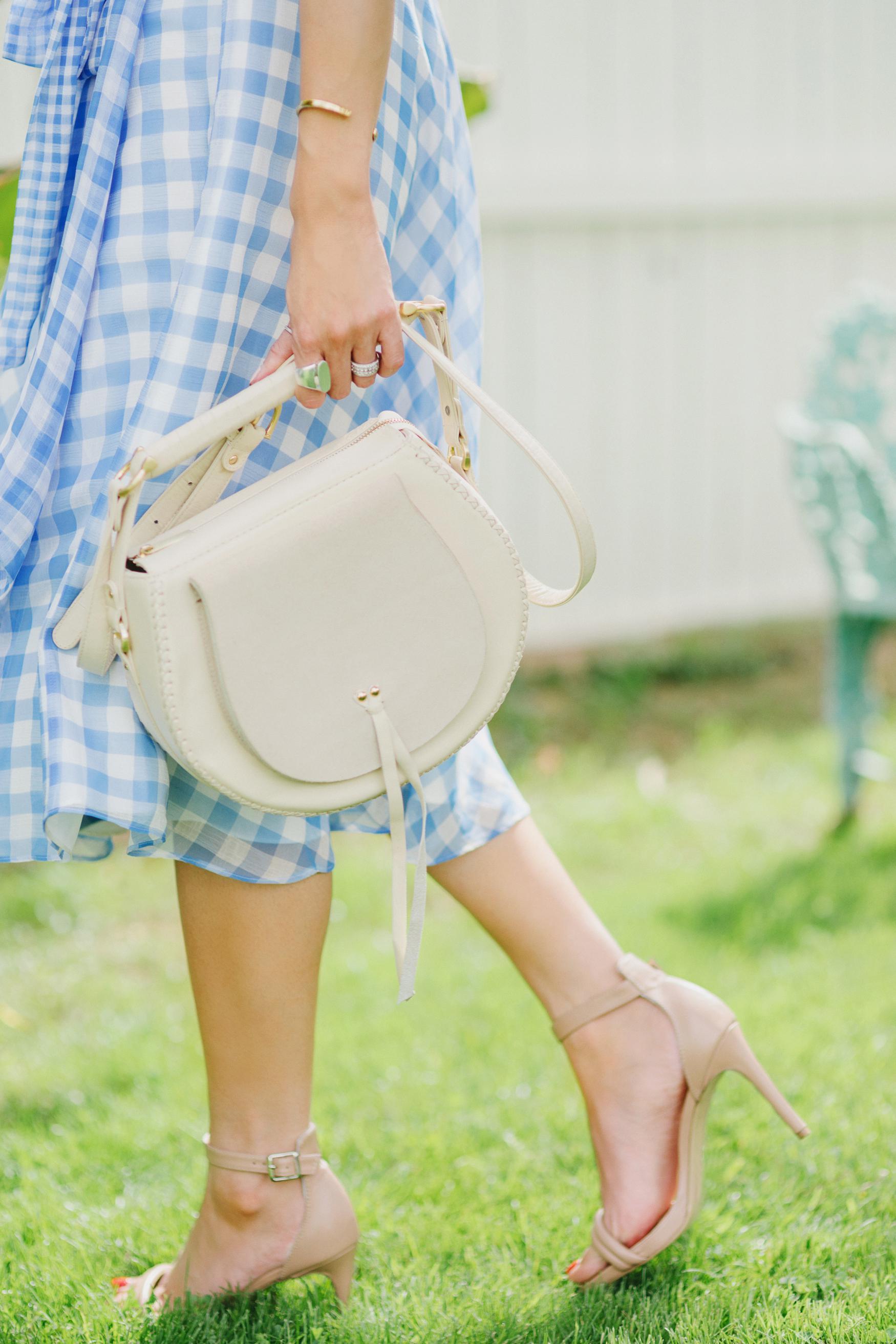 blue check ruffled gingham spring time dress by Tahari ASL // Phoenix Style Lifestyle Blogger Diana Elizabeth