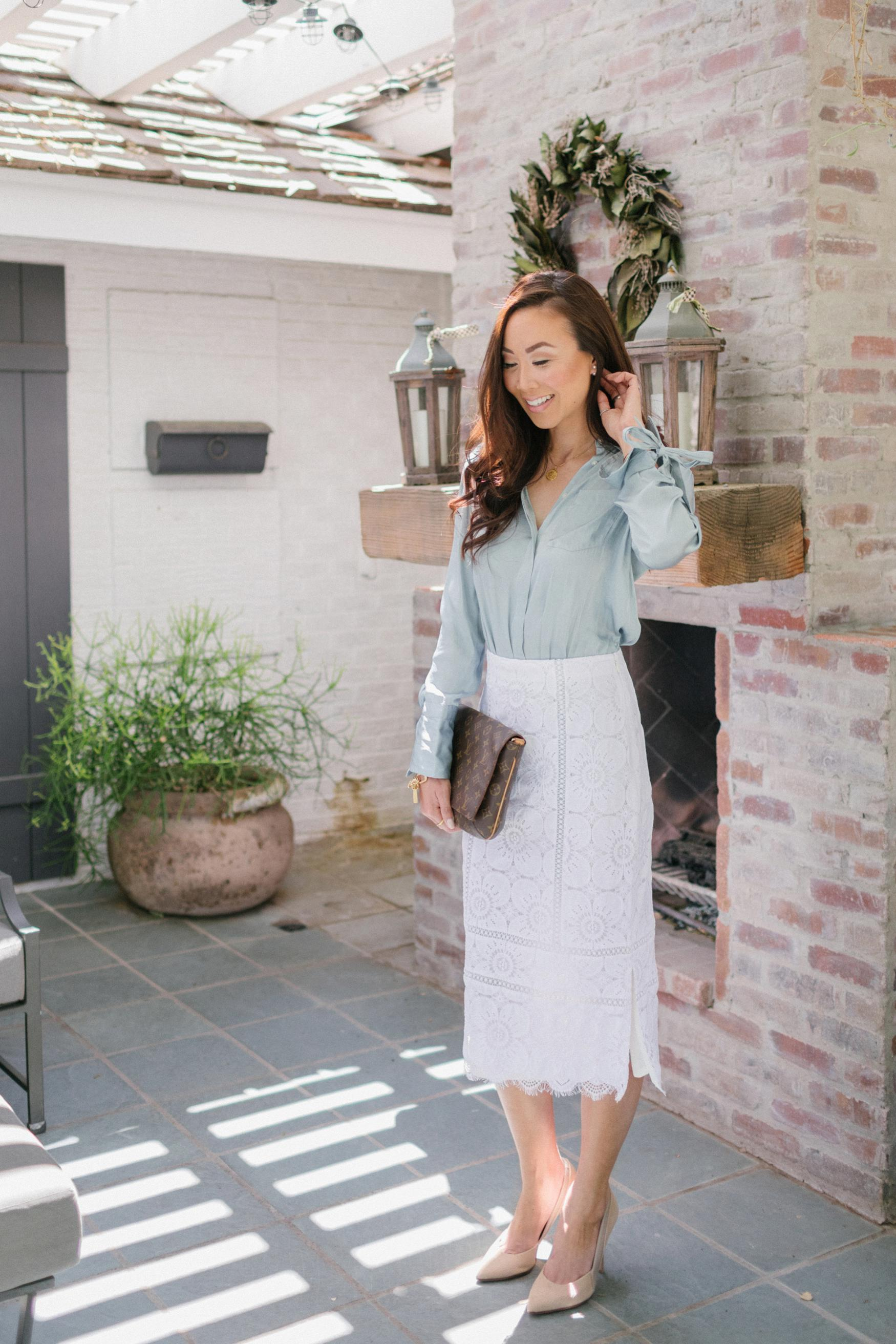 Diana Elizabeth lifestyle blogger wearing Sunday best: Banana Republic white lace midi pencil skirt with Parker tunic-fit tie-cut shirt