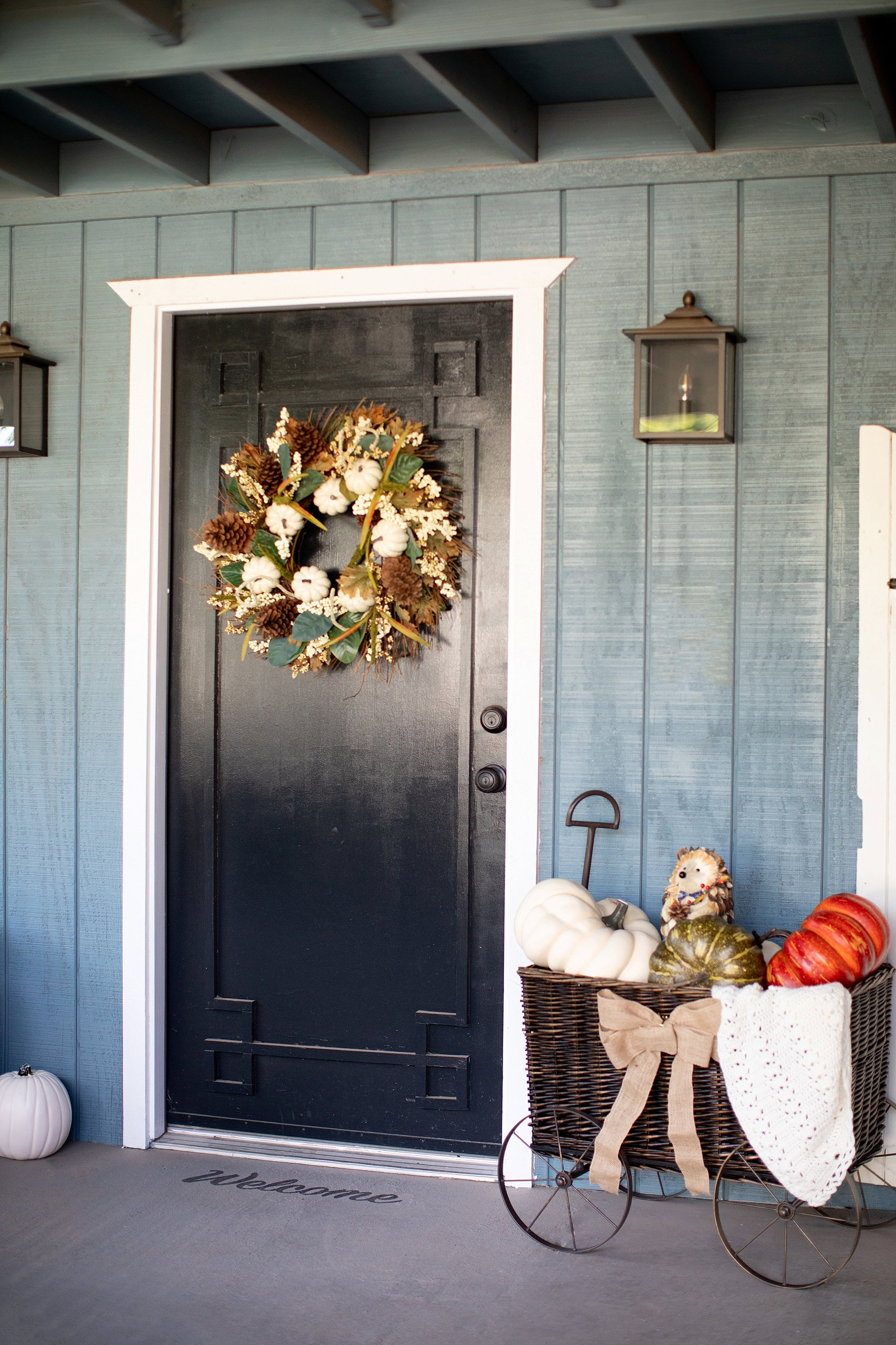 fall decor outdoor entertaining with balsam hill - front door black with wreath