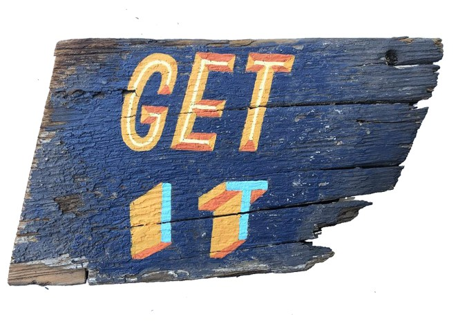get it hand lettered sero waste sign