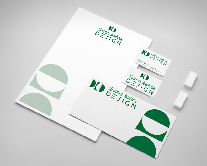branding package for Pasadena California graphic designer Diana Kohne with business card, envelope and letterhead