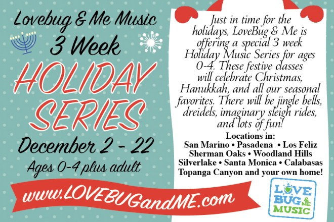 holiday flyer design for LoveBug & Me Music
