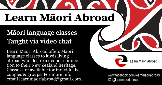 Los Angeles flyer design for learn Maori abroad