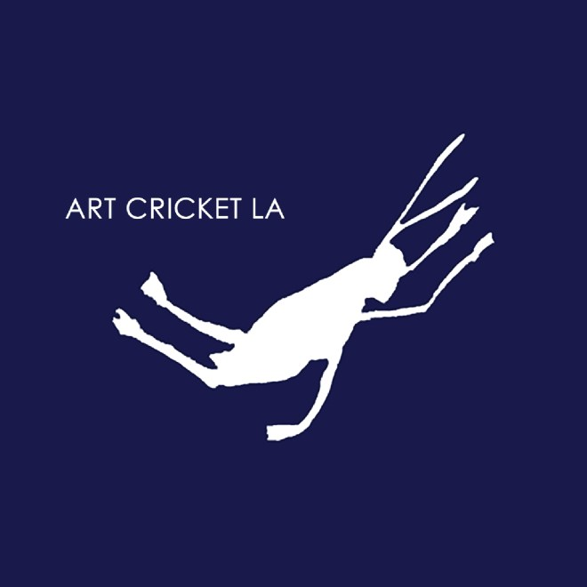 art cricket logo for los angeles art consultancy by diana kohne design depicts a cricket jumping midair