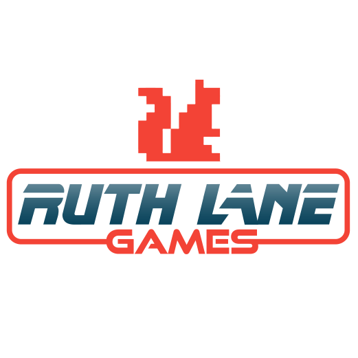 How to Make a Logo guide follow the building of Ruth Lane Games Neo retro logo with a red orange pixelated squirrel icon by Diana Kohne