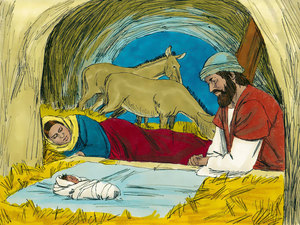The shepherds found Mary, Joseph and the baby in the manger