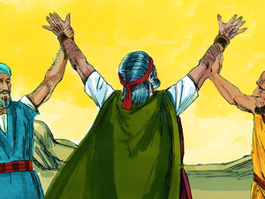 Moses had others hold his arms up when he was weak in battle. We can have others lift us up in prayer in our weakness.