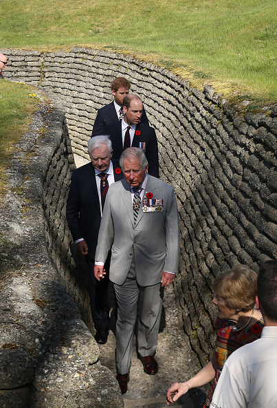 VIMY, FRANCE - APRIL 09: Charles, Prince of Wales, Prince William, Duke of Cambridge and Prince Harry visit the trenches and tunnels used during the battle of Vimy Ridge, as part of the 100th year anniversary of The Battle Of Vimy Ridge on April 9, 2017 in Vimy, France. (Photo by Steve Parsons - Pool/Getty Images)