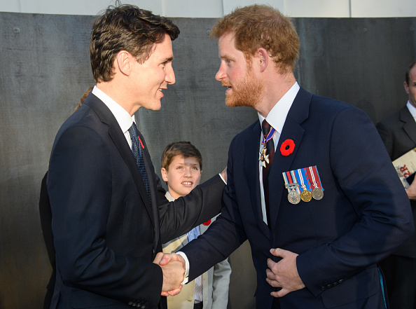 LILLE, FRANCE - APRIL 09: Prime Minister of Canada, Justin Trudeau and Prince Harry attend the commemorations for the 100th anniversary of the battle of Vimy Ridge on April 9, 2017 in Lille, France. (Photo by Samir Hussein/WireImage)