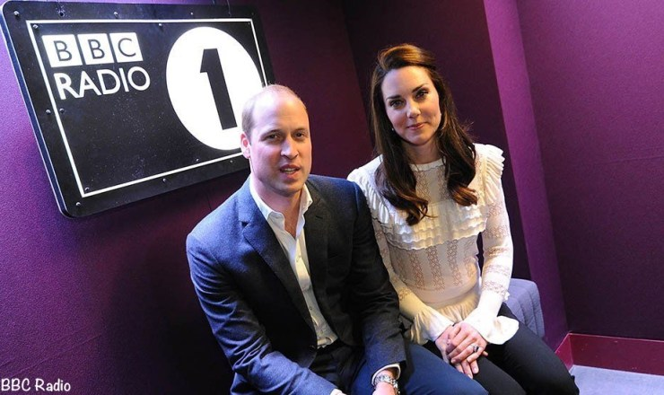 William and Kate joined DJs Scott Mills and Adele Roberts at Radio 1 Photo (C) GETTY IMAGES