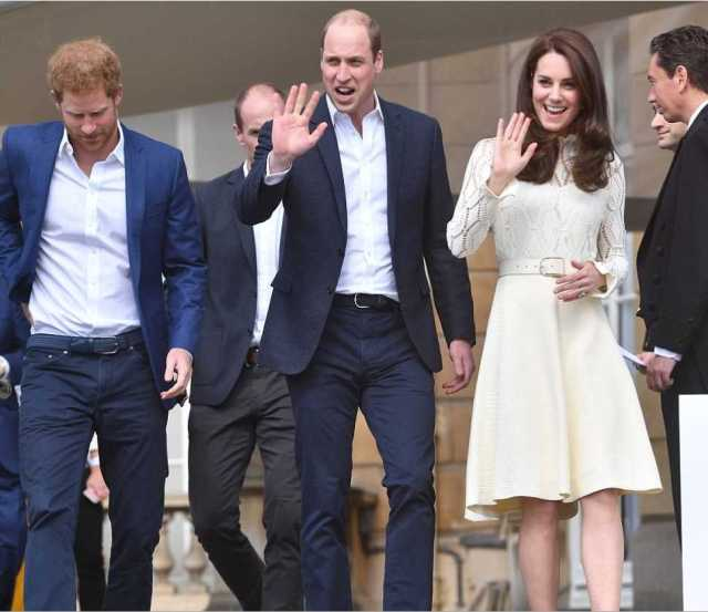 Catherine Duchess of Cambridge, Prince William, and Prince Harry Children Party at Buckingham Palace Photo (C) ANDREW PARSAONS, PA