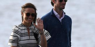 Pippa Middleton and husband James Matthews arrive at Rose Bay wharf by sea plane, in Sydney, Wednesday, May 31, 2017. Kate Middleton's sister Pippa and her new husband have taken to the air above Sydney as they explore the harbour city on their honeymoon. (AAP Image/Dan Himbrechts) NO ARCHIVING