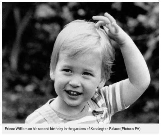 Prince William on his second birthday in the gardens of Kensington Palace