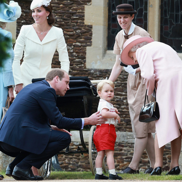 Jul 05, 2015; King's Lynn, England, United Kingdom; KING'S LYNN, ENGLAND - JULY 05: Catherine, Duchess of Cambridge, Prince William, Duke of Cambridge, Princess Charlotte of Cambridge and Prince George of Cambridge, Queen Elizabeth II and Royal nanny Maria Teresa Turrion Borrallo leave the Church of St Mary Magdalene on the Sandringham Estate after the Christening of Princess Charlotte of Cambridge on July 5, 2015 in King's Lynn, England. *no uk sales for 28 days after date created* Mandatory Credit: Photo by National Pictures/KEYSTONE Press © Copyright 2015 by National Pictures