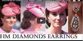 Duchess of Cambridge Wears Queen Elizabeth's Diamond Drop Earrings at Trooping the Colour 2017