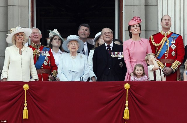 Members of Britain's Royal family from left, Camilla, the Duchess of Cornwall, Prince Charles, Princess Eugenie, Queen Elizabeth II, background Timothy Laurence