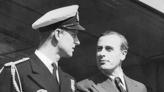 Prince Philip (left) chats with his uncle Lord Mountbatten of Burma in 1948. Credit AP
