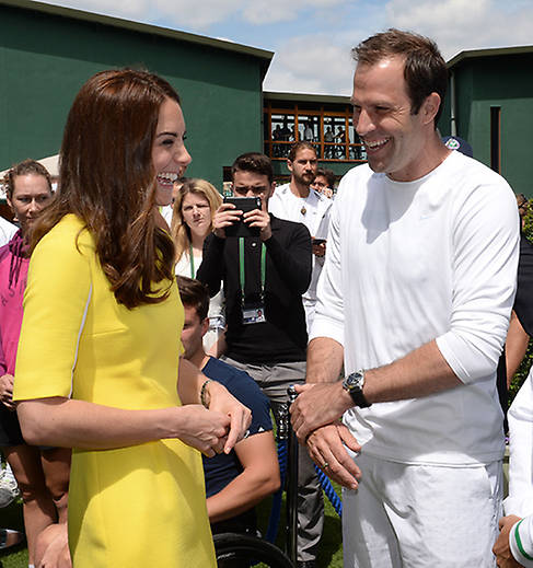 The Duchess of Cambridge with former British number one Greg Rusedski at Wimbledon in 2016. Photo (C) GETTY IMAGES