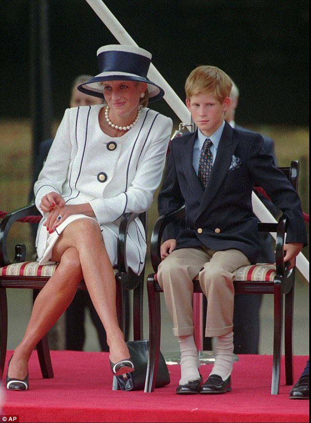 The loss of his mother has gnawed at Prince Harry, who is pictured with her in August 1995, and it is little wonder it has taken so long for him to deal with it