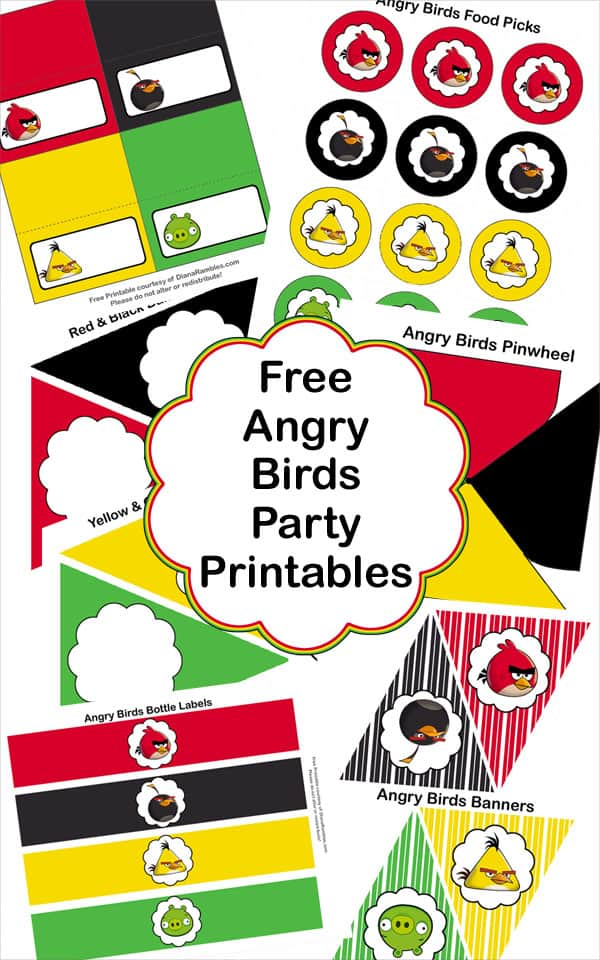 Birds Angry Decorations Printables