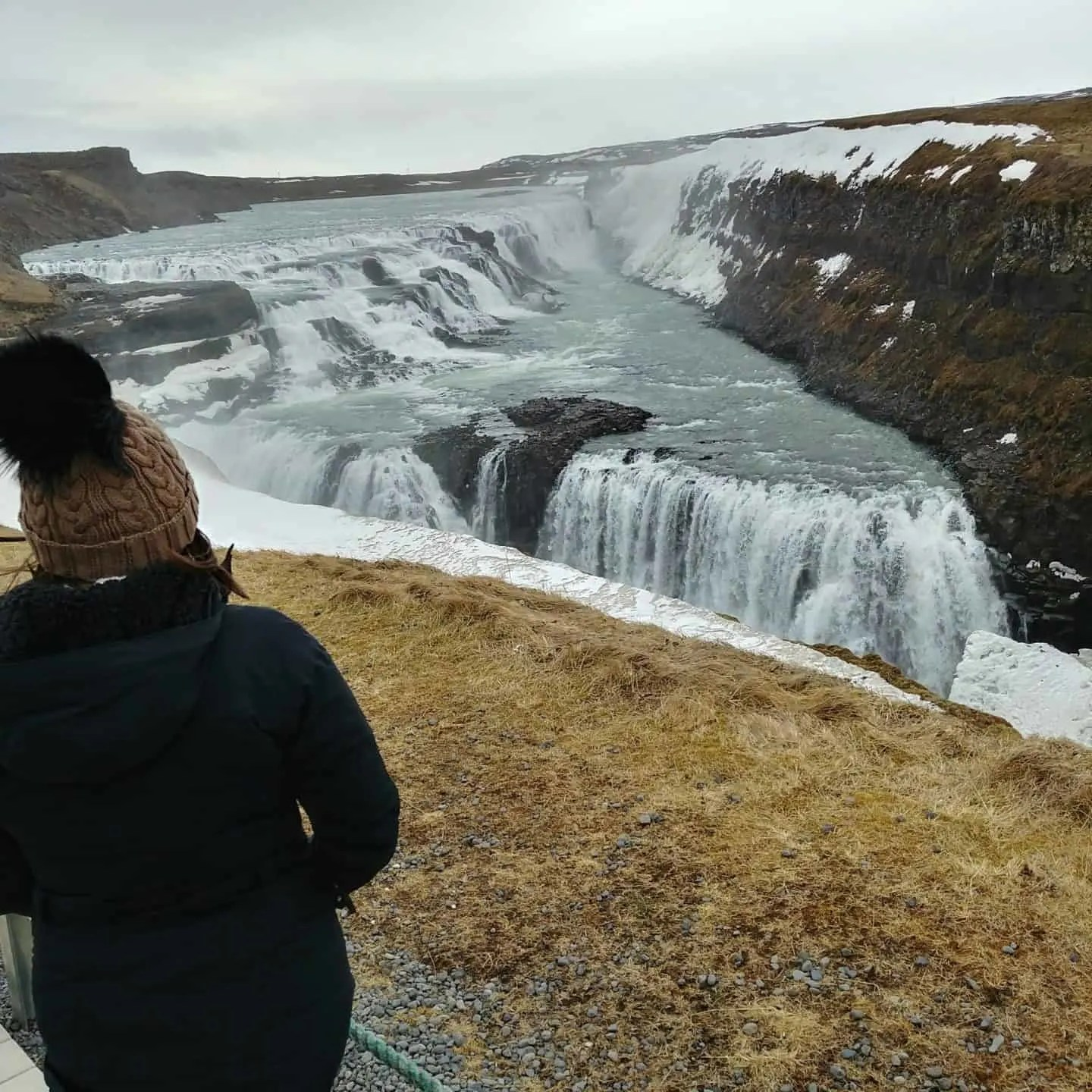 iceland Gullfoss waterfall, view from the top