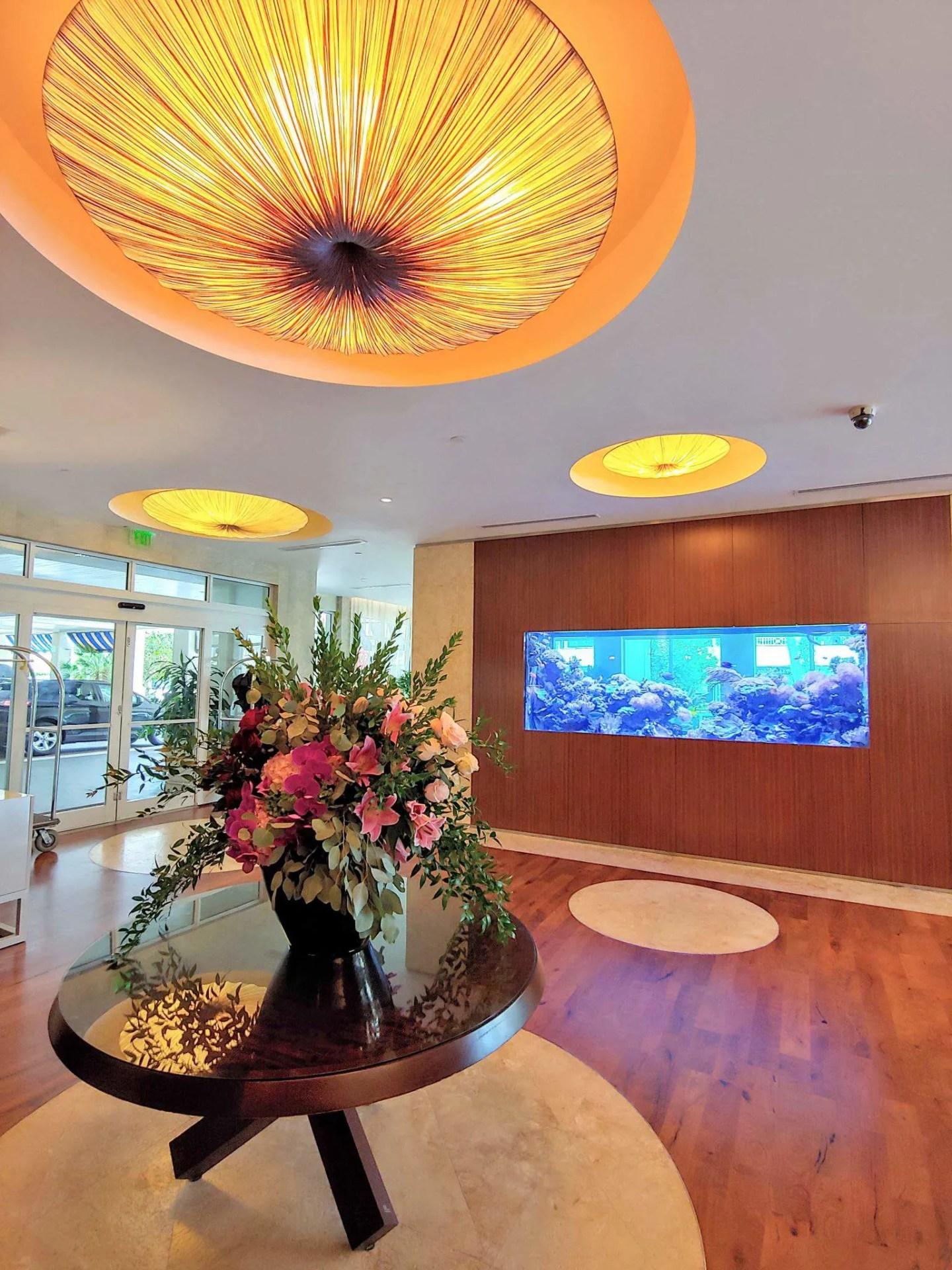 Lobby entrance with fish tank