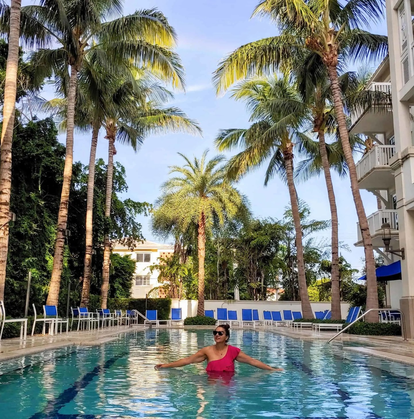 Seagate Hotel pool surrounded with palm trees