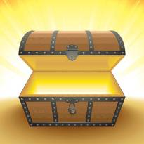 A wooden treasure chest with an open lid and illuminated from inside.
