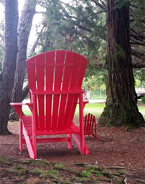 photograph of a giant-sized red Adirondack chair beside a smaller, normal sized chair amongst redwood trees
