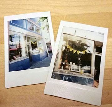 photograph of two polaroids of bookstores