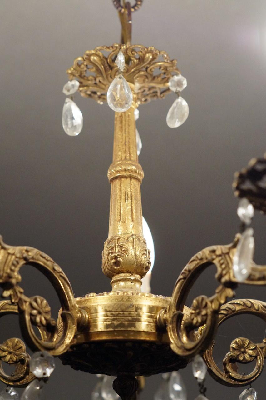 antike Lampe Messing mit Bleikristallen