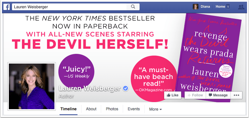 Lauren Weisberger Facebook Page