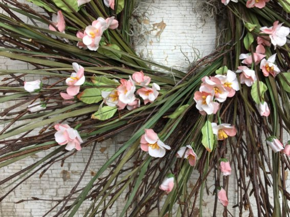 Birch twig, Grass and Pink Cherry Blossom Wreath on Etsy