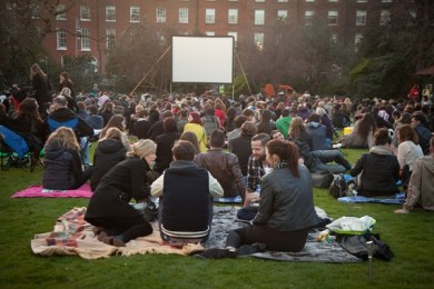 Relaxing in the charming grounds Fitzwilliam Park before the movie show in April © Clare Mulvany