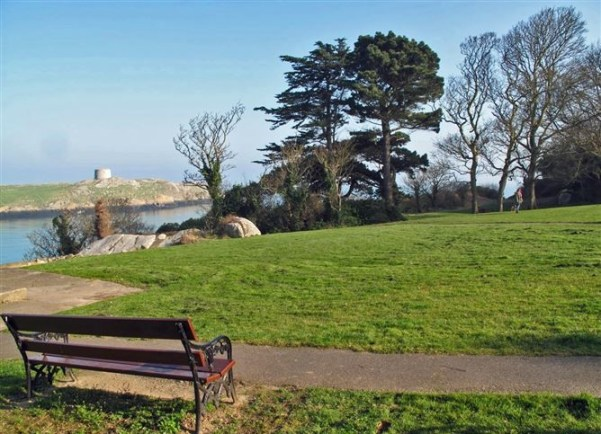 View from Dillon Park next to Coliemore Hrabour towards Dalkey Island
