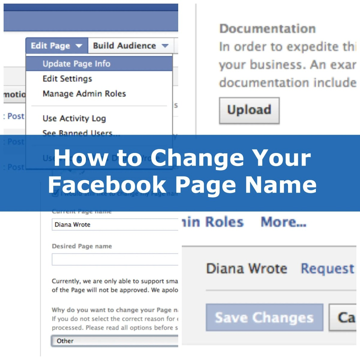 how to change facebook page